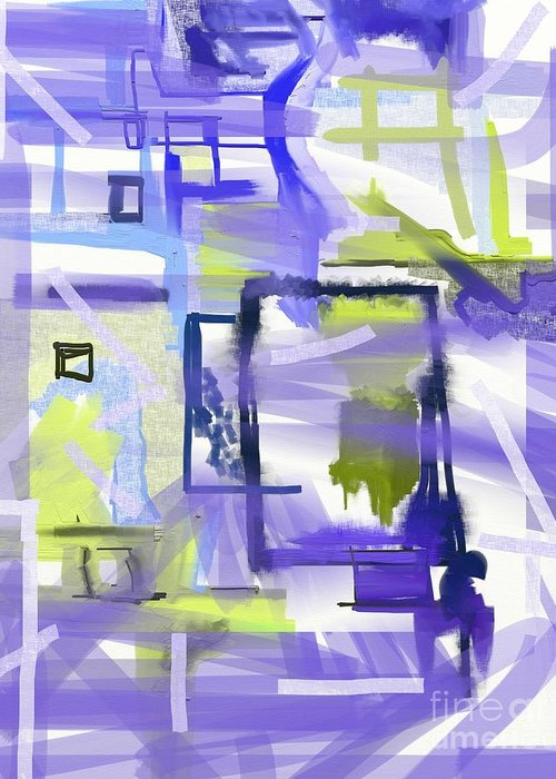 Purple Squares Greeting Card featuring the painting Alone by Jo Baby