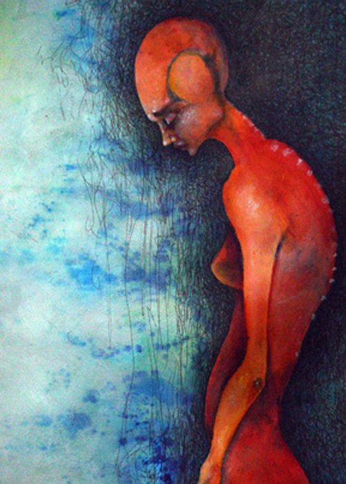 Figure Greeting Card featuring the painting Alone by Mark M Mellon
