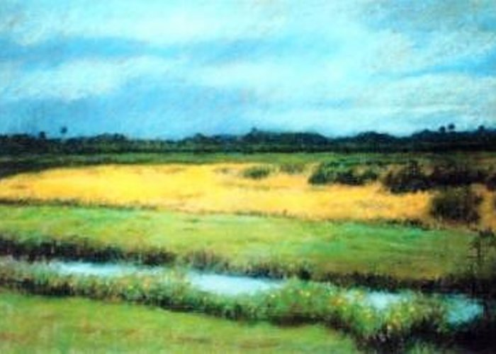 Landscape Sky Field Greeting Card featuring the painting Along 417 by Helen Hickey