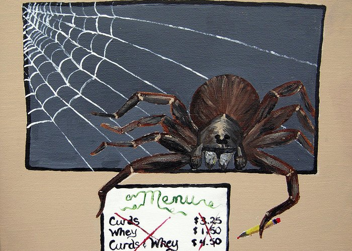 Spider Greeting Card featuring the painting Along Came A Spider by Sharon Supplee