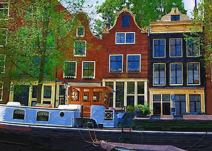 Amsterdam Greeting Card featuring the photograph Along The Canal by Tom Reynen