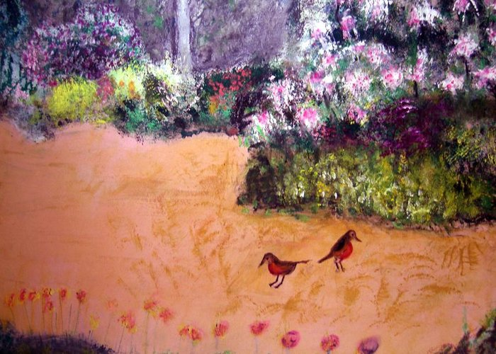 Landscape Greeting Card featuring the painting Along The Garden Path by Michela Akers