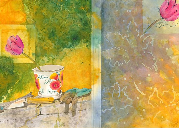 Garden Greeting Card featuring the painting Along The Garden Wall by Jean Blackmer
