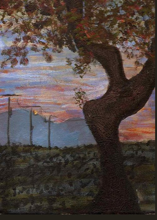 Landscape Greeting Card featuring the painting Along The Highway To Santa Fe by Rika Maja Duevel