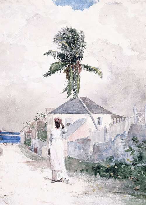 Along The Road Greeting Card featuring the painting Along The Road  Bahamas 1885 by Winslow Homer