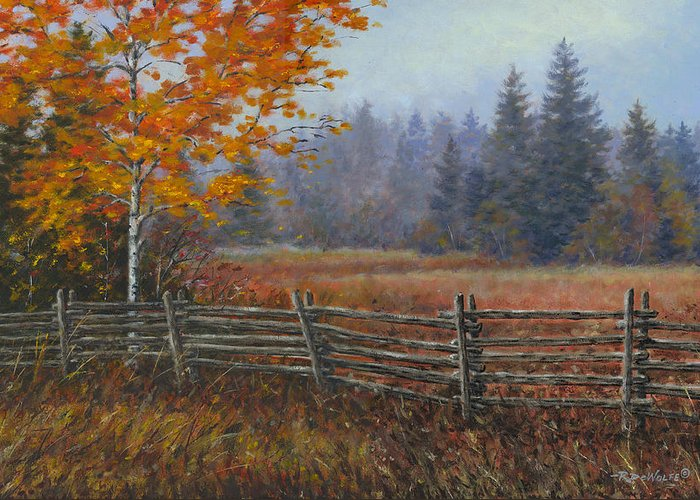 Autumn Greeting Card featuring the painting Along The Stoney Batter Road by Richard De Wolfe
