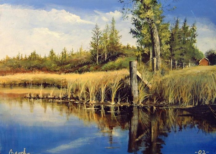 Landscape Greeting Card featuring the painting Along The Way by William Brody