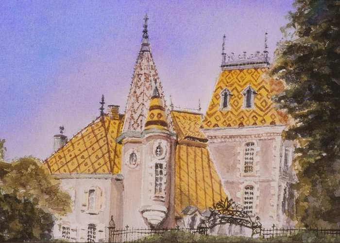 Vineyard Greeting Card featuring the painting Aloxe Corton Chateau Jaune by Mary Ellen Mueller Legault