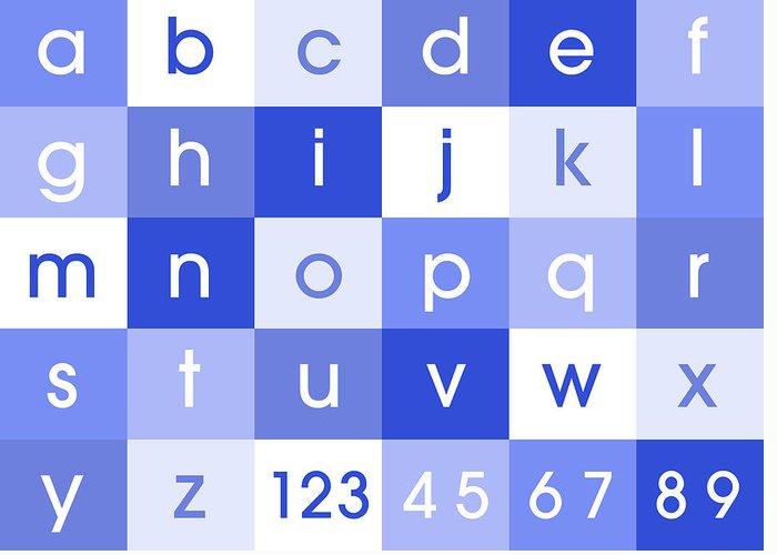 Alphabet Canvas Greeting Card featuring the digital art Alphabet Blue by Michael Tompsett