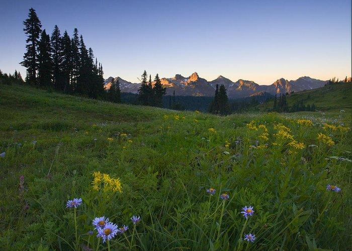 Dawn Greeting Card featuring the photograph Alpine Dawn by Mike Dawson