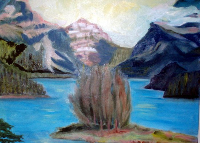 Alps Greeting Card featuring the painting Alpine Lake by Lia Marsman