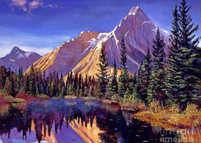 Mountains Greeting Card featuring the painting Alpine Lake Mist by David Lloyd Glover