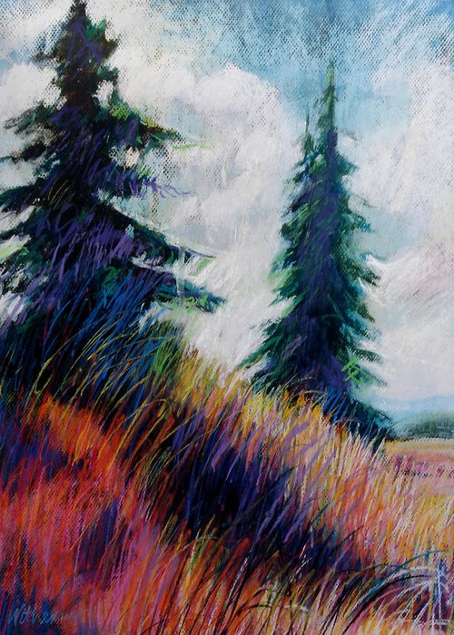 Landscape Greeting Card featuring the painting Alpine Meadow by Dale Witherow