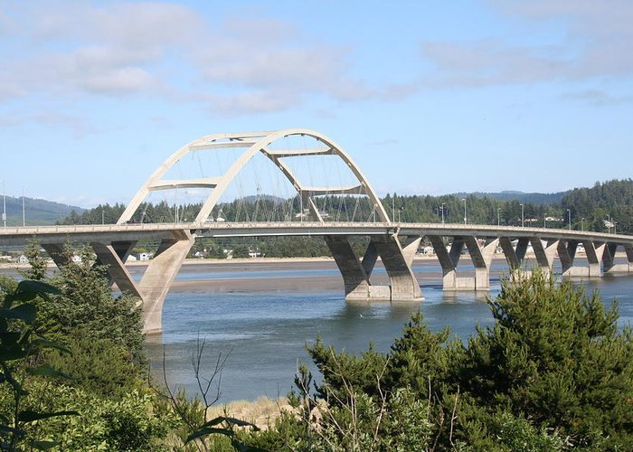 Alsea Greeting Card featuring the photograph Alsea Bridge Br 7002 by Mary Gaines