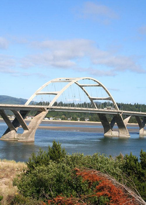 Alsea Greeting Card featuring the photograph Alsea Bridge II Br-7005 by Mary Gaines