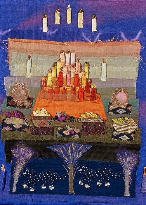 Art Quilt Greeting Card featuring the tapestry - textile Altar With Trees by Roberta Baker