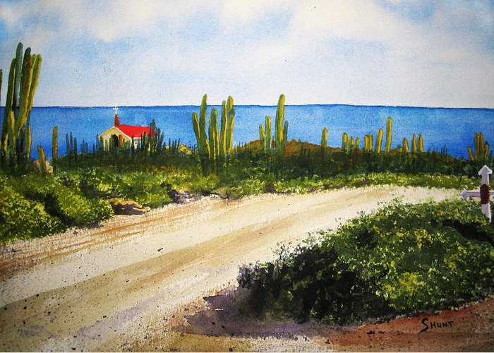 Aruba Greeting Card featuring the painting Alto Vista Chapel by Shirley Braithwaite Hunt