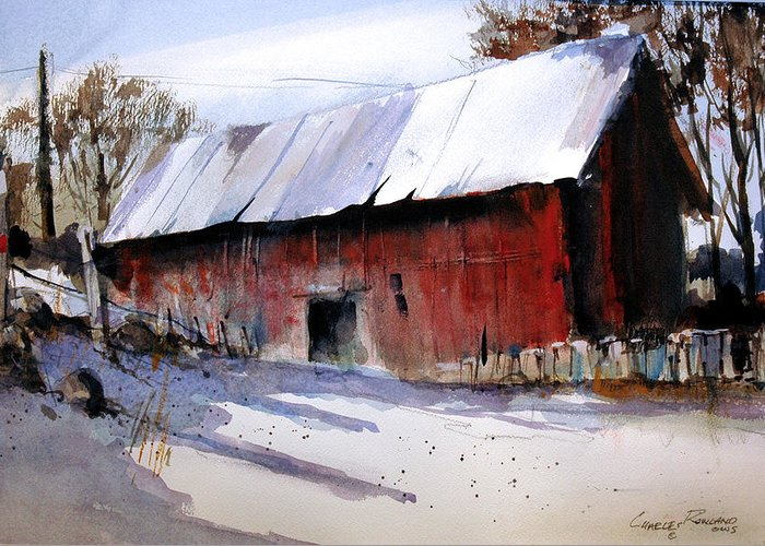 Barn Greeting Card featuring the painting Alum Creek Barn by Charles Rowland