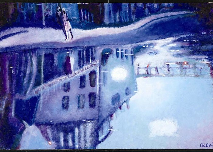 Cityscape Greeting Card featuring the painting Always Two by Olga Alexeeva