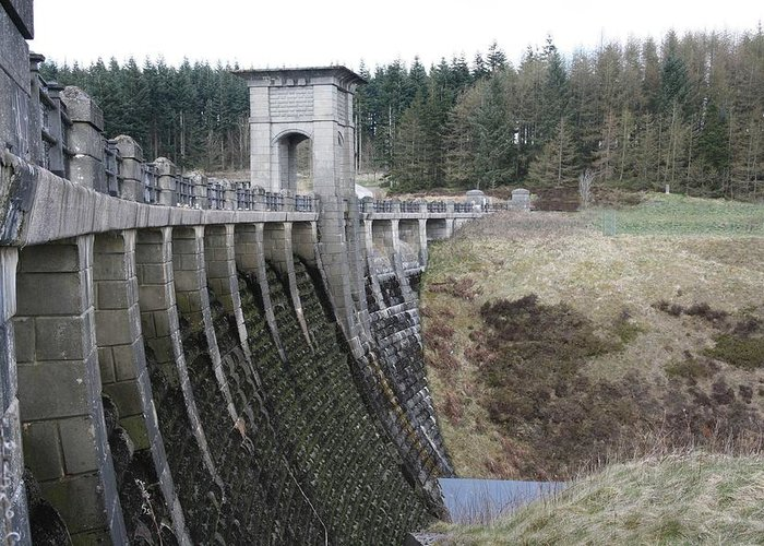 Dams Greeting Card featuring the photograph Alwen Reservoir Dam by Christopher Rowlands