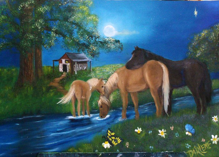 Midnight Greeting Card featuring the painting Alyssas Horses by Darlene Green