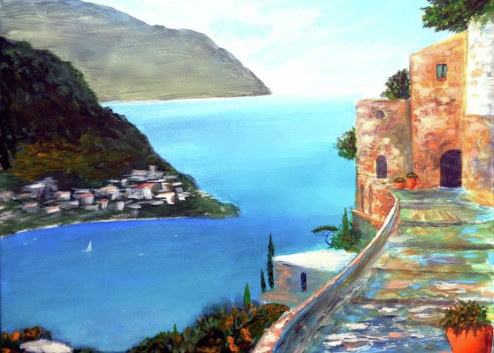 Amalfi Gem Greeting Card featuring the painting Amalfi gem by Larry Cirigliano