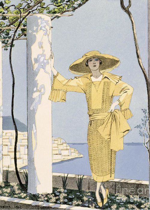 Greeting Card featuring the painting Amalfi by Georges Barbier
