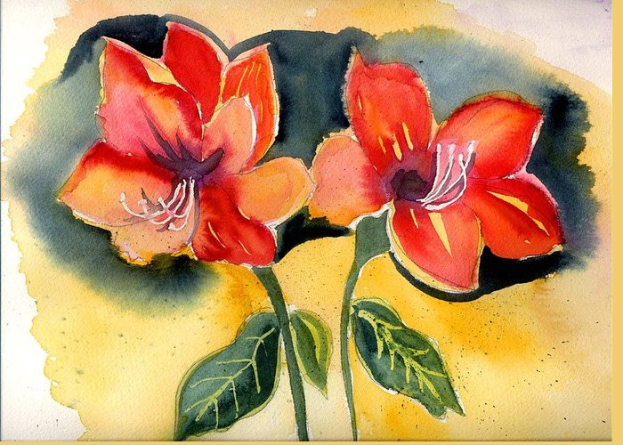 Yellow Orange Red Flowers Floral Amarylis Greeting Card featuring the painting Amarylis by Janet Doggett