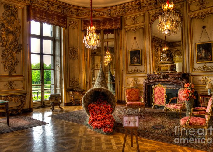 Interior Greeting Card featuring the photograph Amaryllis In The Castle, Belgium by Sinisa CIGLENECKI