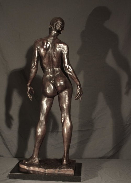 Bronze Sculpture Greeting Card featuring the sculpture Amazing Grace Back View by Dan Earle