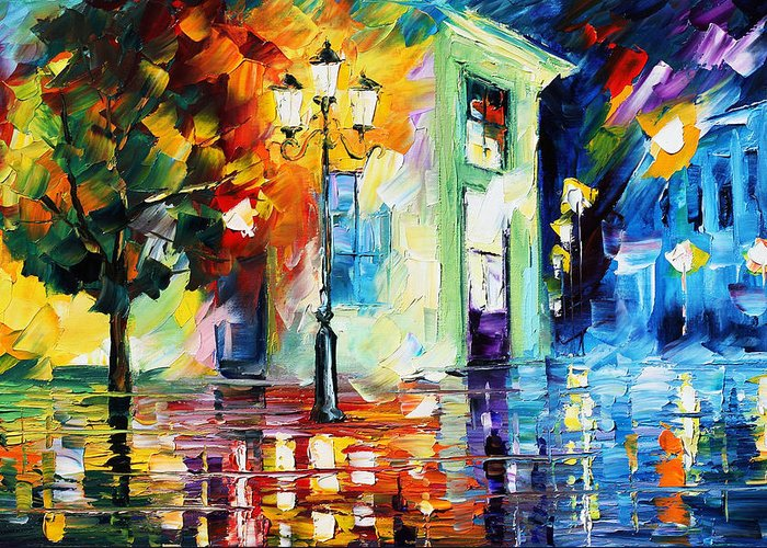 Afremov Greeting Card featuring the painting Amazing Night by Leonid Afremov