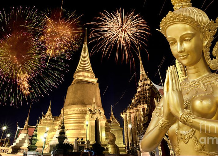 Ancient Greeting Card featuring the photograph Amazing Thailand by Anek Suwannaphoom