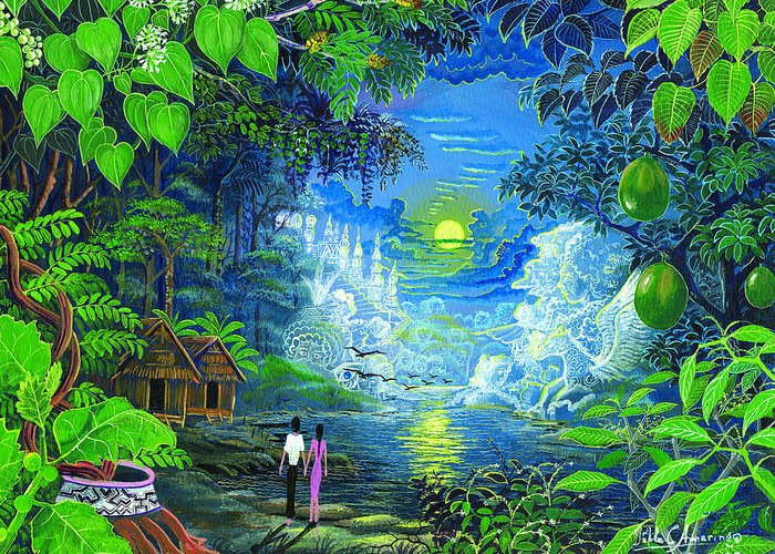 Pablo Amaringo Greeting Card featuring the painting Amazonica Romantica by Pablo Amaringo