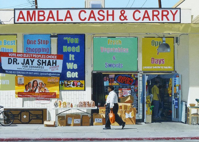 Ambala Greeting Card featuring the painting Ambala Cash And Carry by Michael Ward