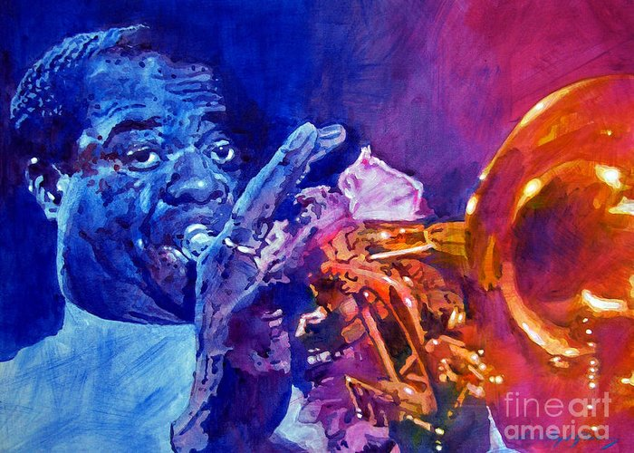 Jazz Greeting Card featuring the painting Ambassador Of Jazz - Louis Armstrong by David Lloyd Glover