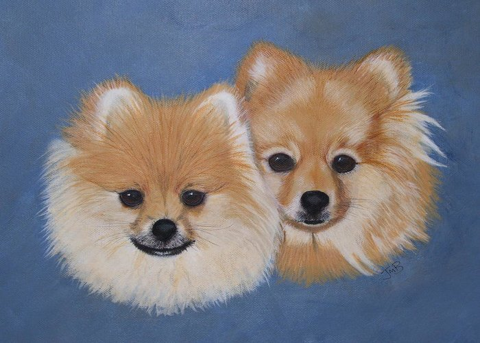 Pet Portrait Greeting Card featuring the painting Amber And Sandy by Janice M Booth