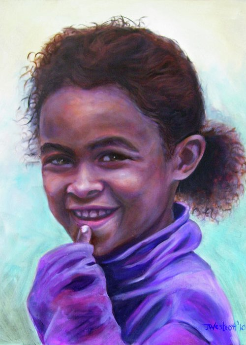 Girl Greeting Card featuring the painting Amber by Jeni Westcott