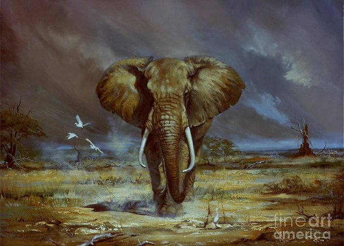 Elephant In The Dusty Planes Of Amboseli. Skies Darken With An Aproaching Storm. Greeting Card featuring the painting Amboseli Bull Elephant by Silvia Duran
