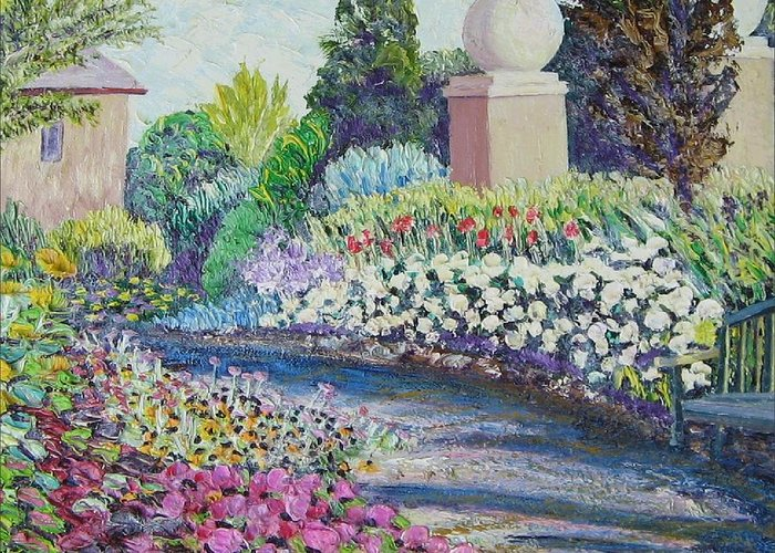 Flowers Greeting Card featuring the painting Amelia Park Pathway by Richard Nowak