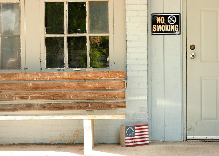 Flag Greeting Card featuring the photograph America No Smoking by Steve Augustin