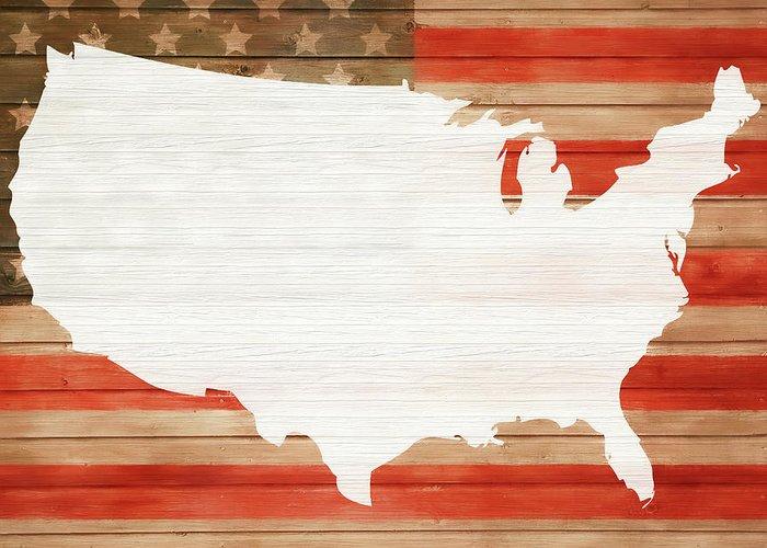 America Rustic Map On Wood Greeting Card featuring the mixed media America Rustic Map On Wood by Dan Sproul