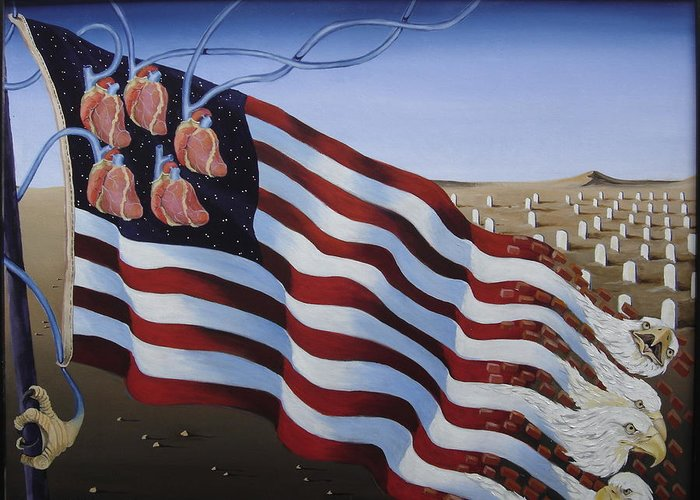 Flag Greeting Card featuring the painting America by Sandra Scheetz-Wise
