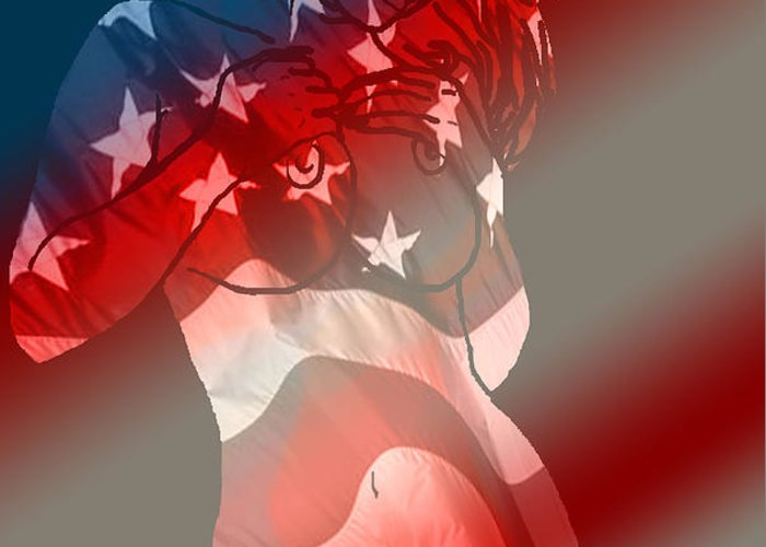 Nude Art Greeting Card featuring the painting America by Tbone Oliver
