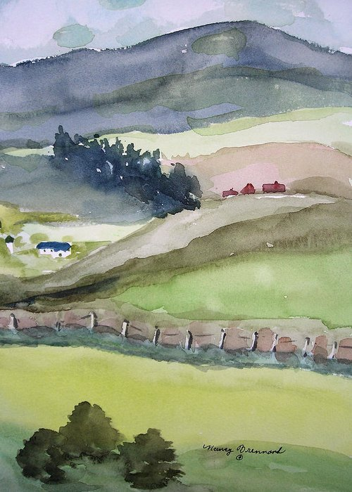 Landscape. Farmland Greeting Card featuring the painting America The Beautiful by Nancy Brennand