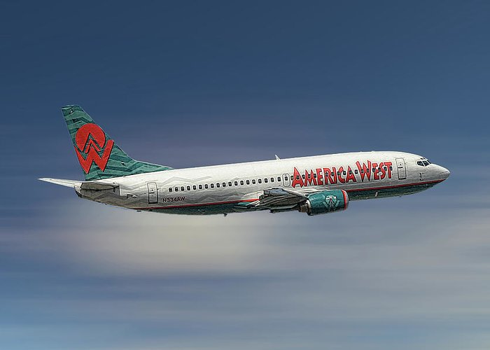America West Greeting Card featuring the mixed media America West Boeing 737-300 by Smart Aviation