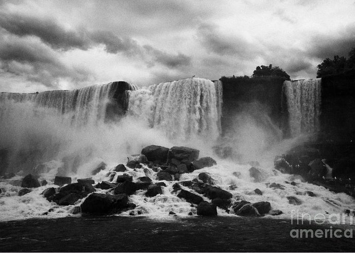 Niagara Falls Greeting Card featuring the photograph American And Bridal Veil Falls With Luna Island And Deposited Talus Niagara Falls New York State Usa by Joe Fox