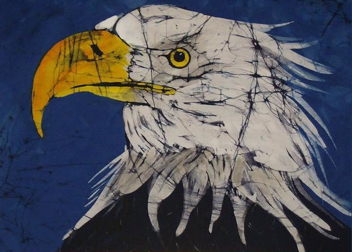 American Bald Eagle Greeting Card featuring the tapestry - textile American Bald Eagle Fine Art Batik by Kay Shaffer