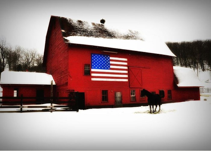 America Greeting Card featuring the photograph American Barn by Bill Cannon