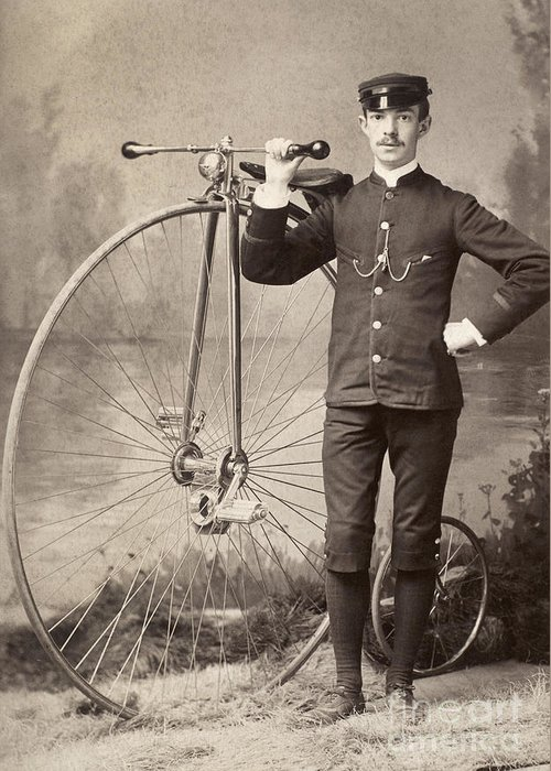 1880s Greeting Card featuring the photograph American Bicyclist, 1880s by Granger