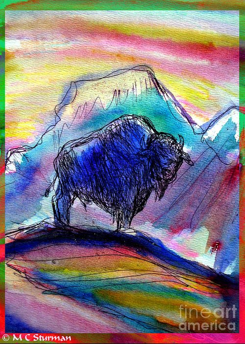 American Greeting Card featuring the mixed media American Buffalo Sunset by M C Sturman
